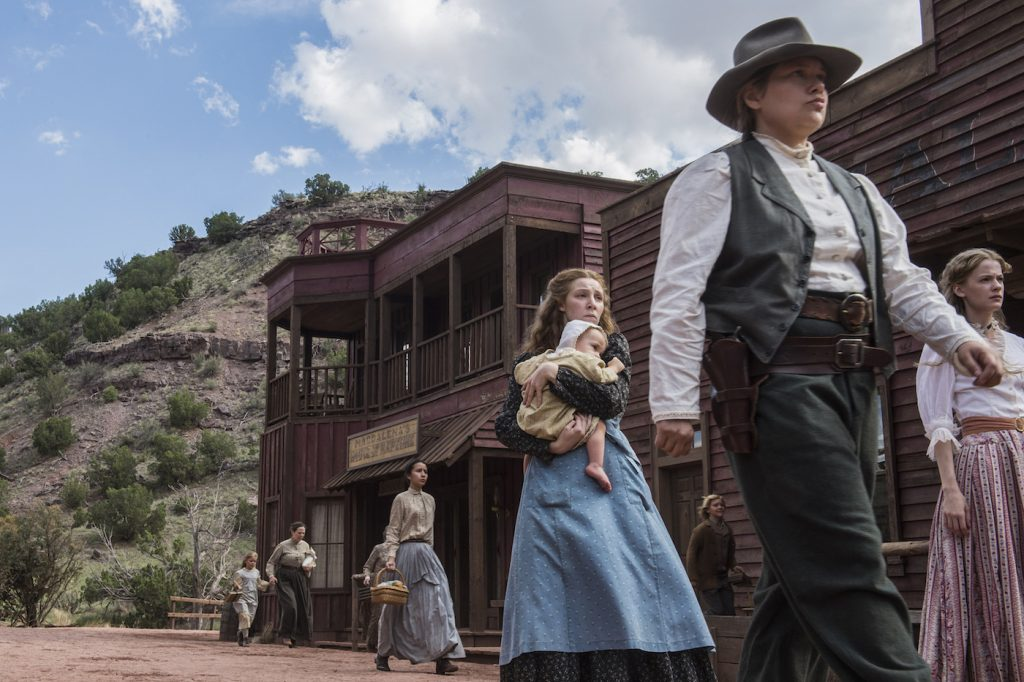 Kayli Carter, Merritt Wever, Tess Frazer in 'Godless.' Photo by: Ursula Coyote/Netflix.