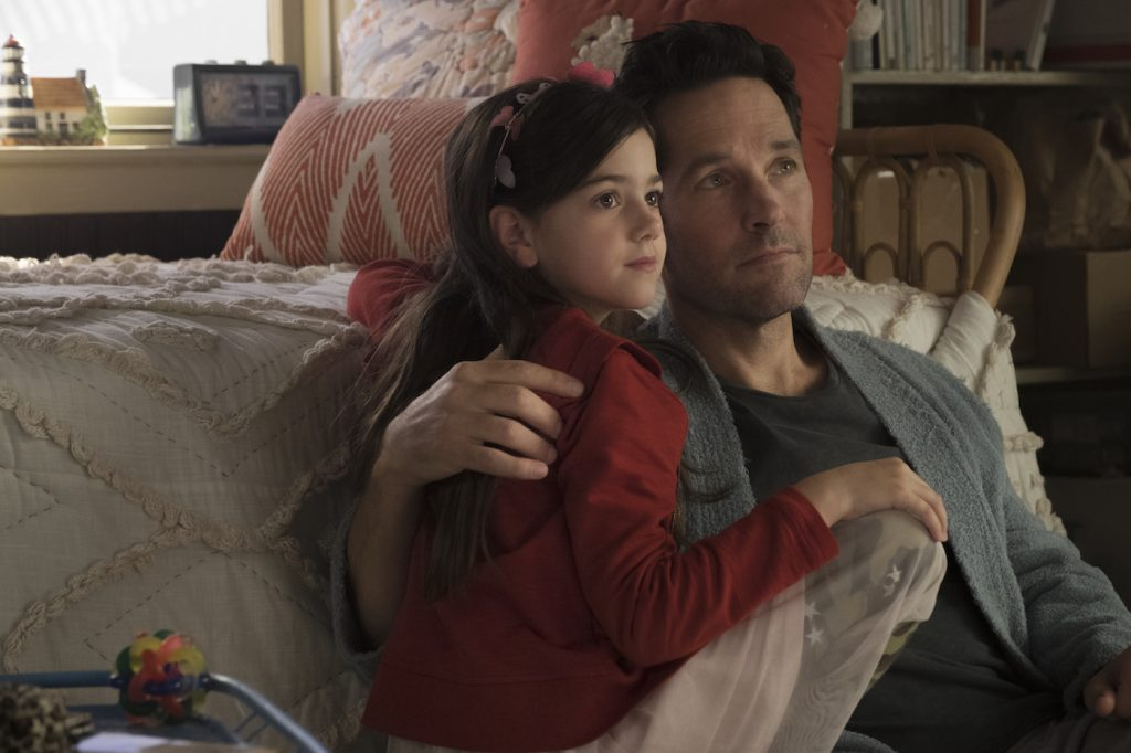Marvel Studios ANT-MAN AND THE WASP..L to R: Cassie Lang (Abby Ryder Fortson) and Ant-Man/Scott Lang (Paul Rudd). Photo: Ben Rothstein. ©Marvel Studios 2018