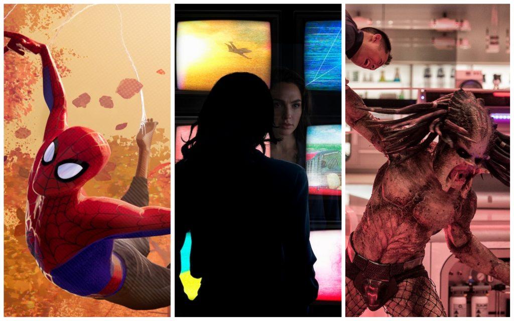 L-r: Into the Spider-Verse. Photo by © 2018 SPAI. Wonder Woman 1984. Photo by Clay Enos/ ™ & © . DC Comics. The Predator. Photo Credit: Kimberley French; TM & © 2018 Twentieth Century Fox Film Corporation.
