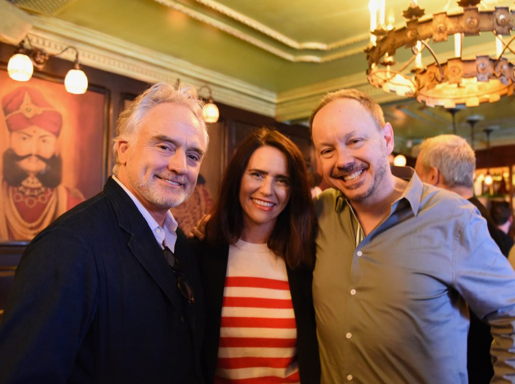 From left: Transparent's Bradley Whitford and Amy Landecker and GALECA executive director and founder John Griffiths at the 2016 Dorian Awards Winners Toast.
