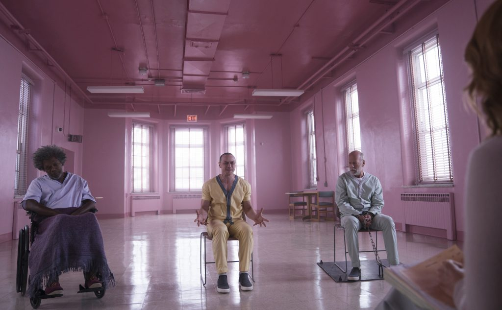 Samuel L. Jackson, James McAvoy, Bruce Willis and Sarah Paulson in Glass. Courtesy: Universal Pictures