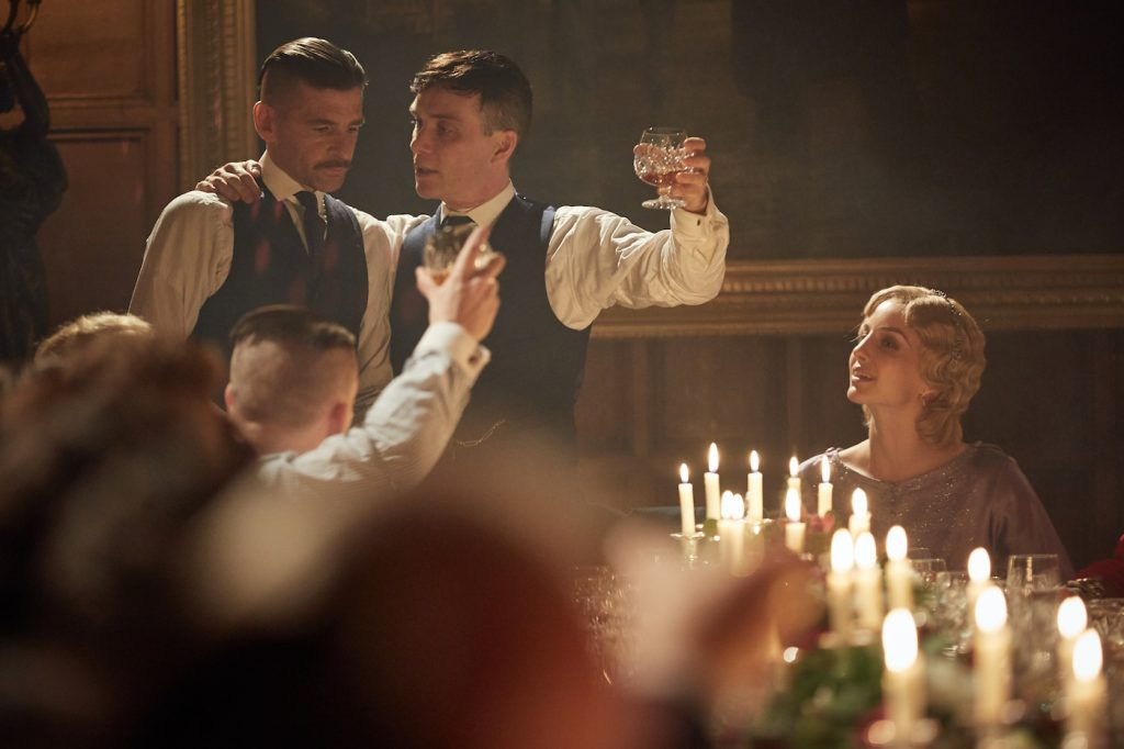 Paul Anderson (Arthur Shelby), Cillian Murphy (Tommy Shelby) and Annabelle Wallis (Grace Burgess) in Peaky Blinders, series three - Episode One Photographer: Robert Viglasky © Caryn Mandabach Productions Ltd; Tiger Aspect Productions Ltd 2016