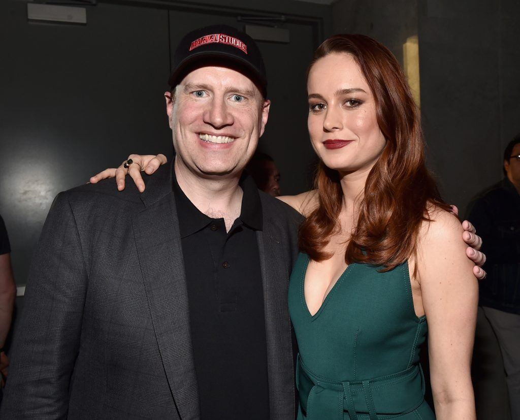 SAN DIEGO, CA - JULY 23: Marvel Studios president and producer Kevin Feige (L) and actress Brie Larson announced as Captain Marvel/Carol Danvers attend the San Diego Comic-Con International 2016 Marvel Panel in Hall H on July 23, 2016 in San Diego, California. ©Marvel Studios 2016 (Photo by Alberto E. Rodriguez/Getty Images for Disney) *** Local Caption *** Kevin Feige; Brie Larson
