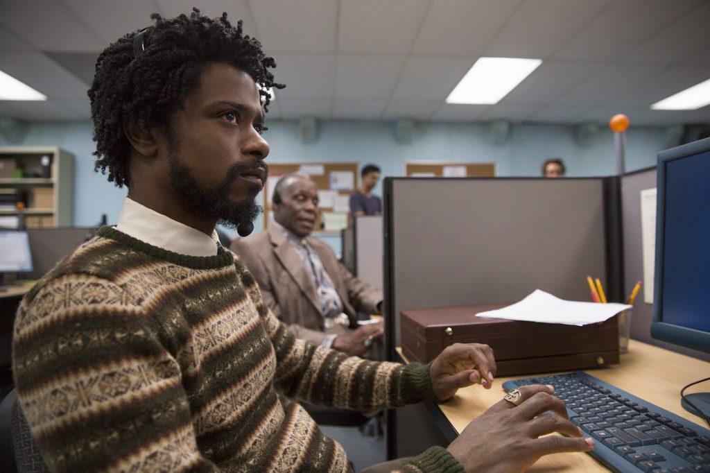 (l to r.) Lakeith Stanfield as Cassius Green and Danny Glover as Langston star in Boots Riley's SORRY TO BOTHER YOU, an Annapurna Pictures release. Credit: Peter Prato / Annapurna Pictures