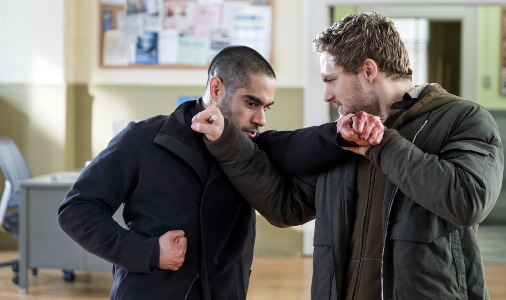 Sacha Dhawan, Finn Jones in Marvel's Iron Fist. Photo by Linda Kallerus/Netflix