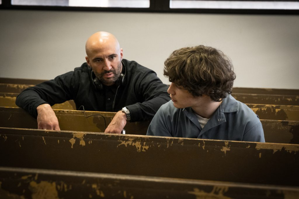 Director Yann Demange confers with Richie Merritt on the set of Columbia Pictures' and Studio 8's WHITE BOY RICK. Photo by Scott Garfield. Courtesy Sony Pictures.
