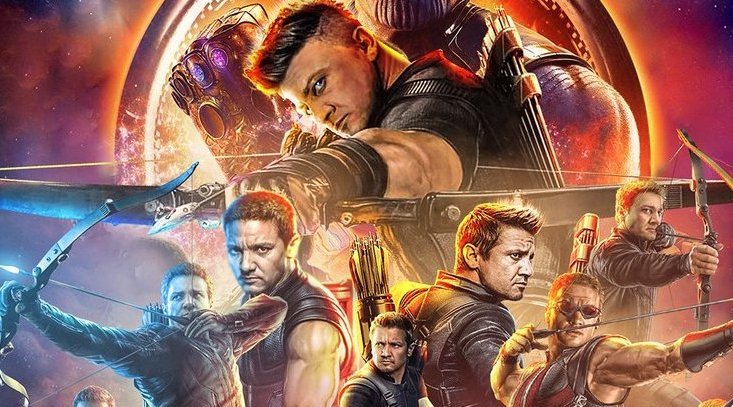 The mock Avengers: Infinity War poster made in honor of Jeremy Renner's Hawkeye, who was absent during the film. Courtesy Marvel Studios.