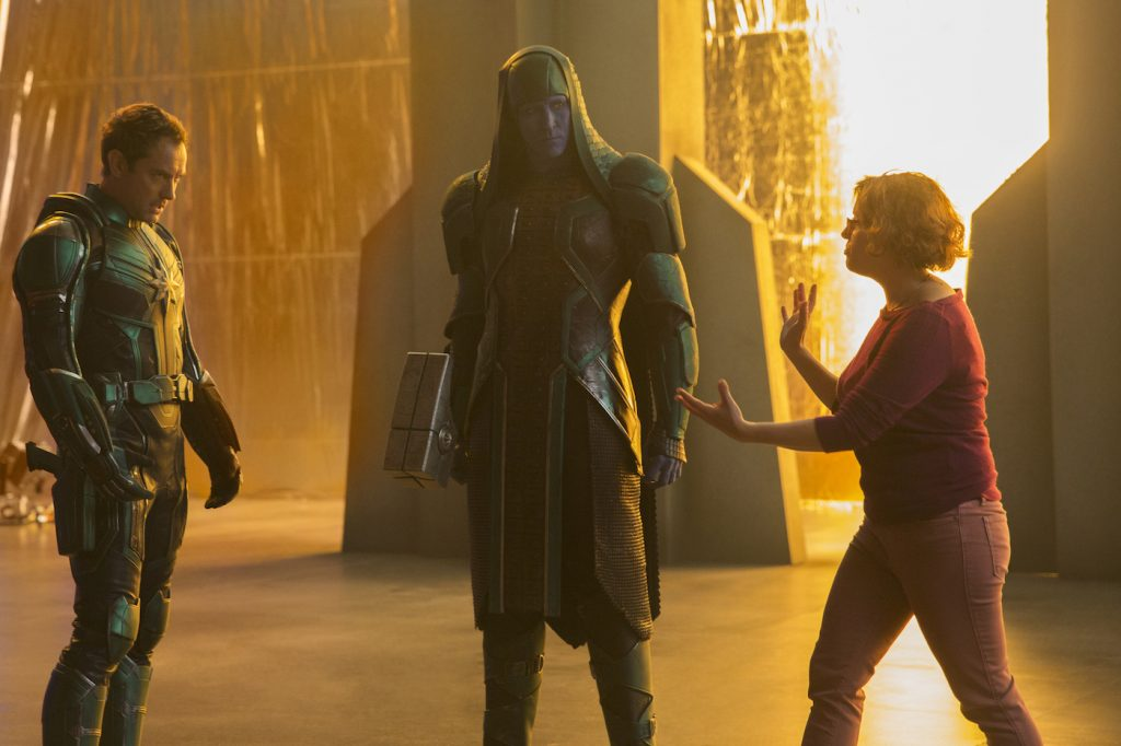 Jude Law's Mar-Vell, Lee Pace's Ronan and director Anna Boden. Courtesy Marvel Studios