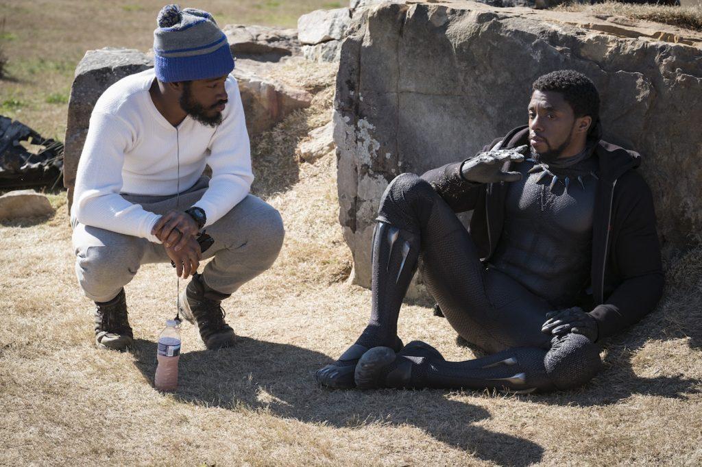 Marvel Studios' BLACK PANTHER..L to R: Director (Ryan Coogler) and Chadwick Boseman (T'Challa/Black Panther). Photo: Matt Kennedy. ©Marvel Studios 2018