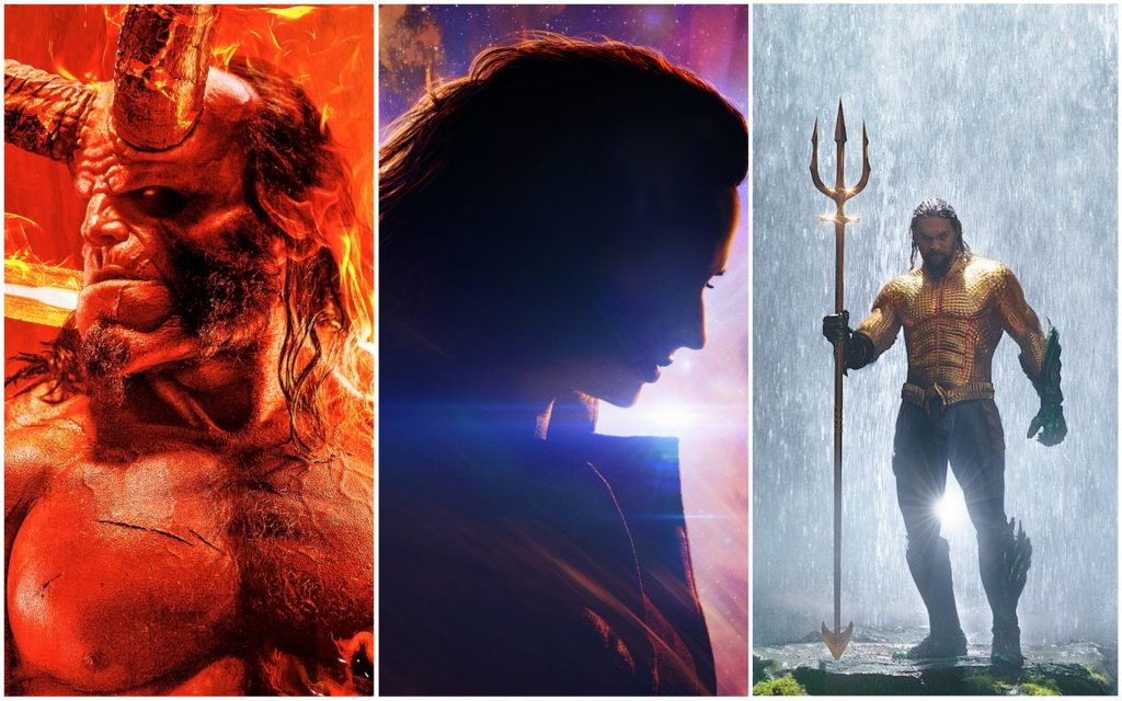 L-r: David Harbour in 'Hellboy'/Courtesy Lionsgate. Sophie Turner in 'Dark Phoenix'/Courtesy 20th Century Fox, Jason Momoa in 'Aquaman'/Courtesy Warner Bros.