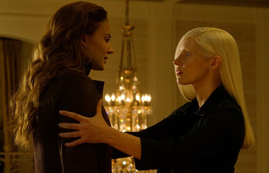 Sophie Turner and Jessica Chastain in Twentieth Century Fox's X-MEN: DARK PHOENIX. Photo Credit: Doane Gregory.