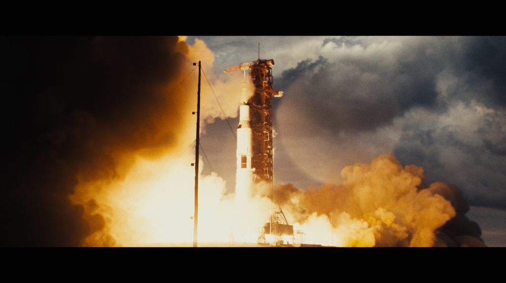Final Composite of Apollo 11 launch. We augmented archival 70mm NASA footage of the Apollo 14 launch. To create a more cinematic visual we reframed it, cleaned it up and the extended the sides with CG smoke and sky to match.
