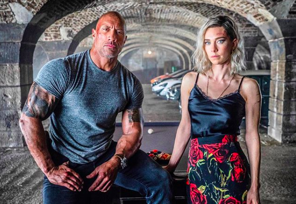 Dwayne Johnson and Vanessa Kirby in 'Hobbs and Shaw.' Courtesy Dwayne Johnson/Univesral