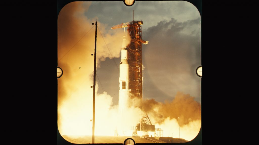 Frame of 70mm NASA archival footage of Apollo 14 launch.