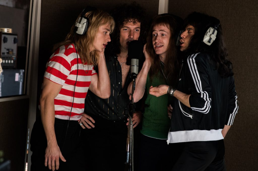 L-R: Ben Hardy (Roger Taylor), Gwilym Lee (Brian May), Joe Mazzello (John Deacon), and Rami Malek (Freddie Mercury) star in Twentieth Century Fox's BOHEMIAN RHAPSODY. Photo Credit: Alex Bailey. Courtesy 20th Century Fox.