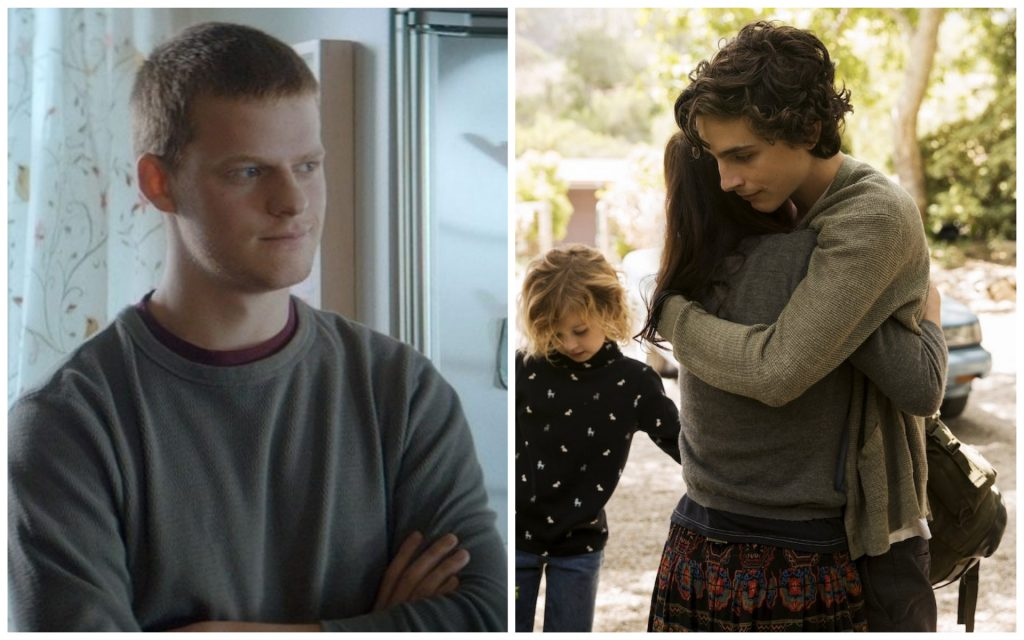 L-r: 1) Featured image: Julia Roberts and Lucas Hedges in 'Ben is Back.' Courtesy Roadside Attractions. 2) Oakley Bull as Daisy Sheff, Maura Tierney as Karen Babour, Timothée Chalamet as Nic Sheff, Christian Convery as Jasper Sheff, and Steve Carell as David Scheff star in BEAUTIFUL BOY. Photo Credit: Francois Duhamel/Amazon