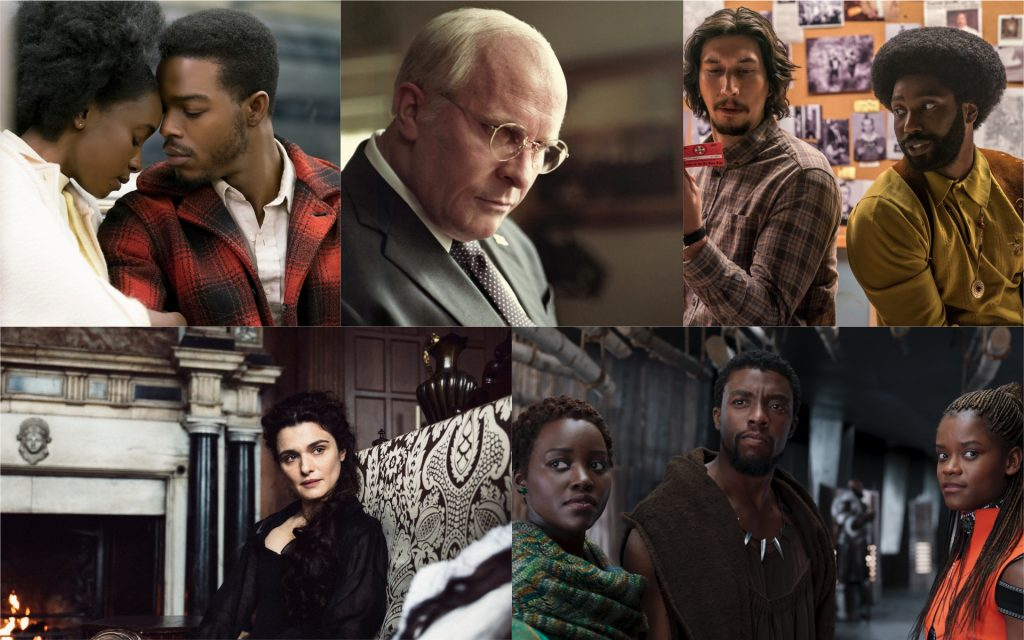 L-r: KiKi Layne & Stephan James in 'If Beale Street Could Talk' (Courtesy Annapurna Pictures); Christian Bale in 'Vice' (Courtesy Annapurna Pictures); Adam Driver and John David Washginton in 'BlacKkKlansman' (Courtesy Focus Features); Lupita Nyong'o, Chadwick Boseman and Letitia Wright in 'Black Panther' (Courtesy Marvel Studios); and Rachel Weisz in 'The Favourite' (Courtesy Fox Searchlight Pictures).
