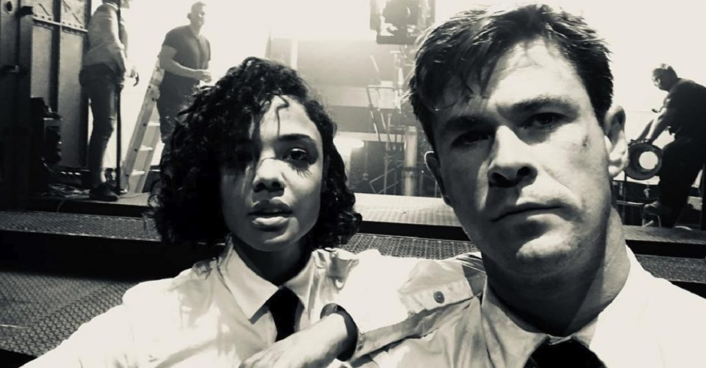 Tessa Thompson and Chris Hemsworth in 'Men in Black: International.' Courtesy Sony Pictures