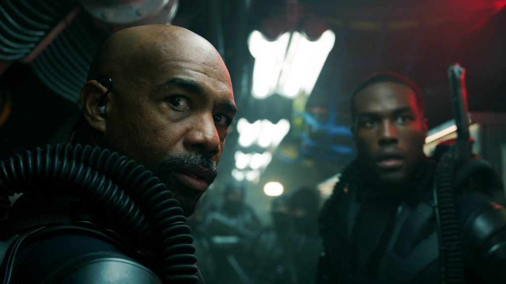 "Caption: MICHAEL BEACH as Jesse and YAHYA ABDUL-MATEEN II as Black Manta in Warner Bros. Pictures' action adventure ""AQUAMAN,"" a Warner Bros. Pictures release."