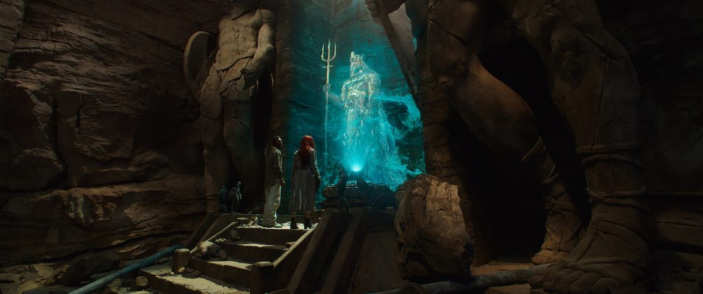 "Caption: (L-r) JASON MOMOA as Aquaman, AMBER HEARD as Mera and GRAHAM McTAVISH as King Atlan in Warner Bros. Pictures' action adventure ""AQUAMAN,"" a Warner Bros. Pictures release."