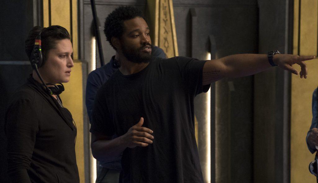 L to R: Director Ryan Coogler on set with Cinematographer Rachel Morrison. Ph: Matt Kennedy. ©Marvel Studios 2018