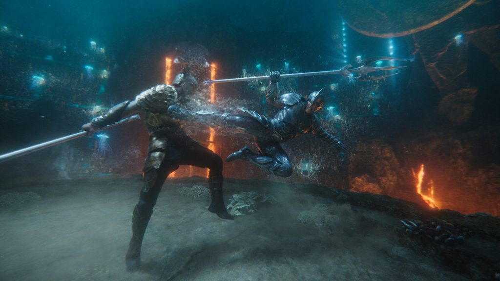 Aquaman (Jason Momoa) fights Orm (Patrick Wilson). Photo Credit: Courtesy of Warner Bros. Pictures