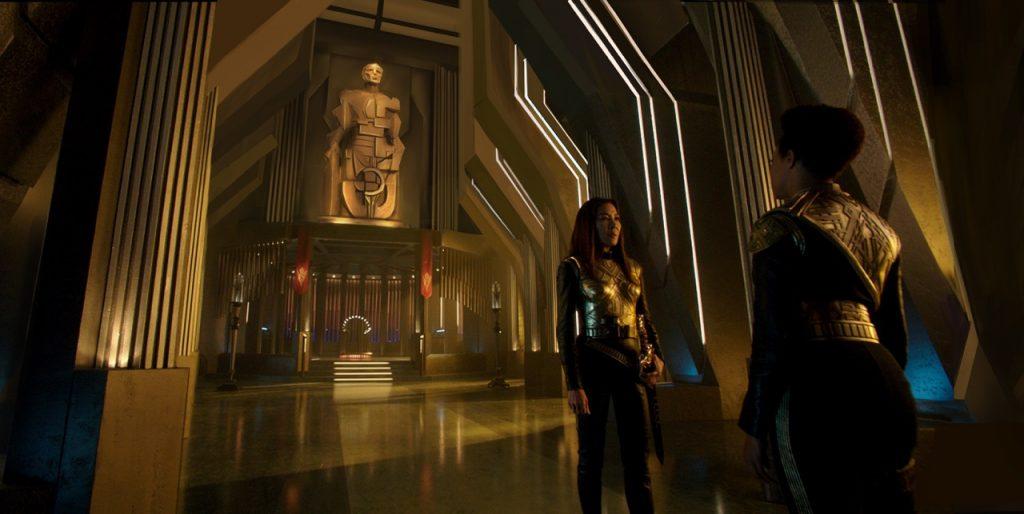 Inside the Terran palace ship throne room. Courtesy Tamara Deverk/CBS