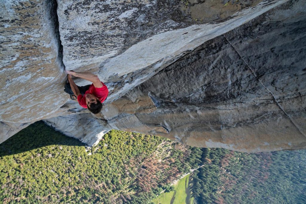 Alex Honnold making the first free solo ascent of El Capitan's Freerider in Yosemite National Park, CA. Photo courtesy National Geographic/Jimmy Chin.