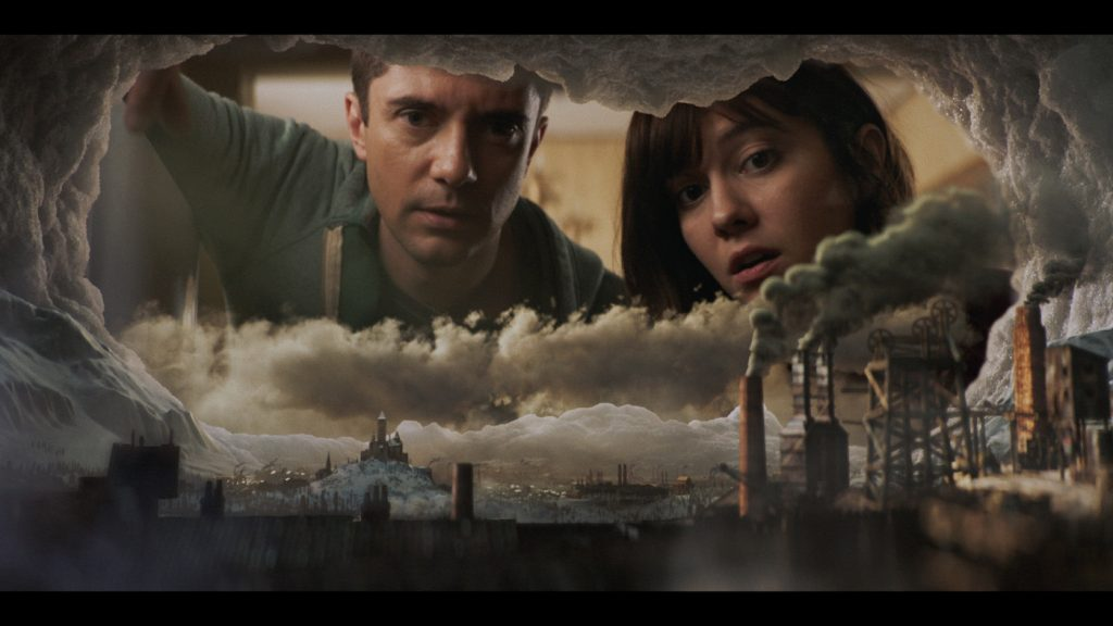 "Topher Grace and Mary Elizabeth Winstead in ""Ice Age."" Courtesy Netflix."