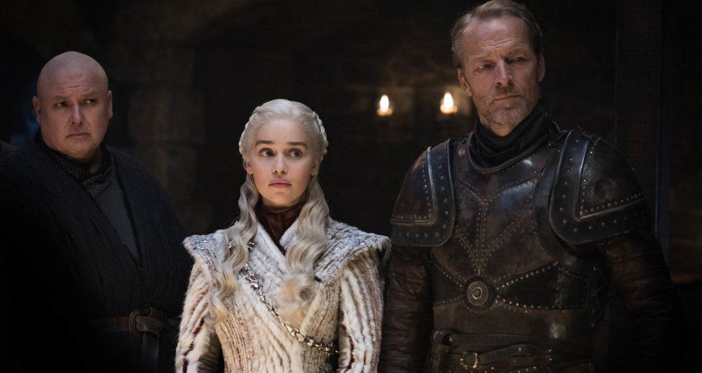 Season 8, episode 2 (debut 4/21/19): Conleth Hill, Emilia Clarke, Iain Glen. photo: Helen Sloan/HBO