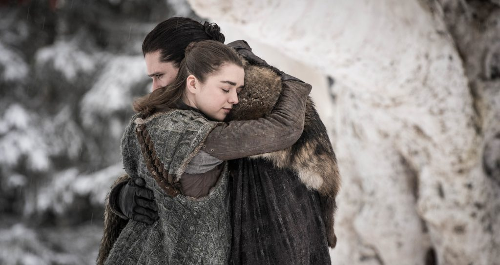 eason 8, episode 1 (debut 4/14/19): Maisie Williams, Kit Harington. photo: Helen Sloan/HBO