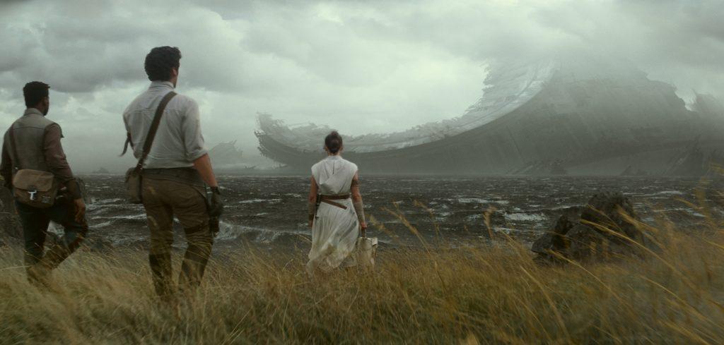 Finn (John Boyega), Poe Dameron (Oscar Isaac) and Rey (Daisy Ridley) in STAR WARS: EPISODE IX. Courtesy Lucasfilm/Walt Disney Studios