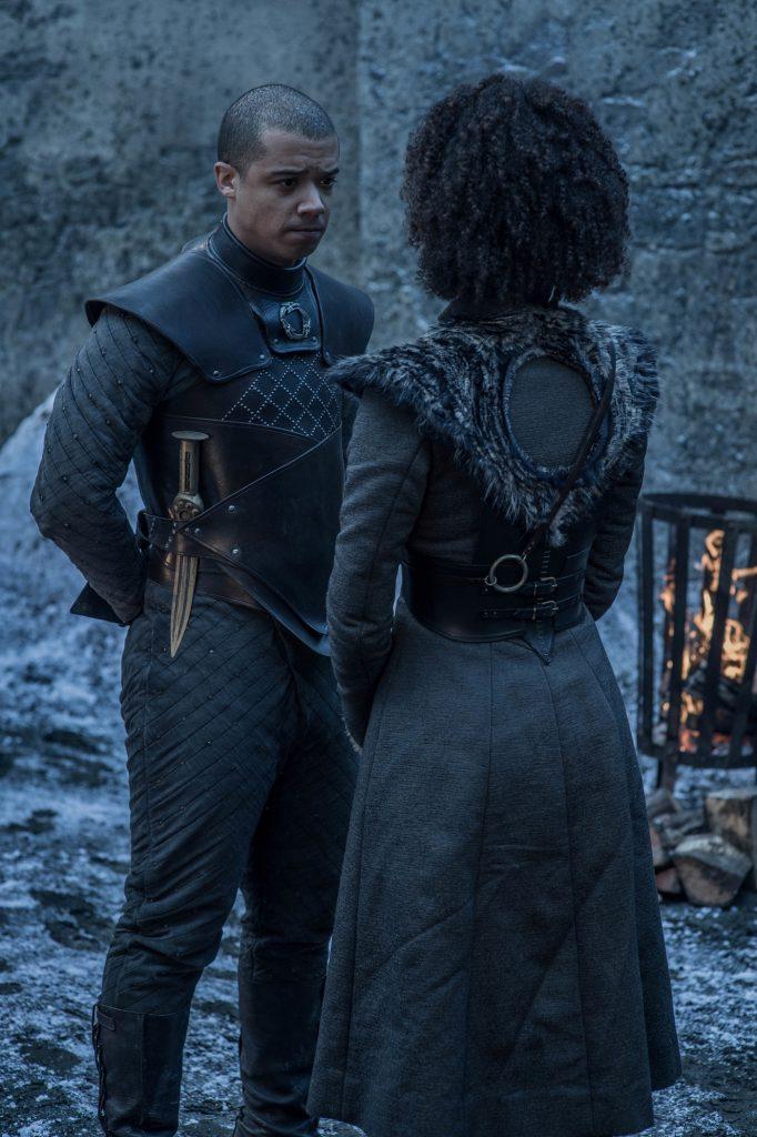 Season 8, episode 2 (debut 4/21/19): Jacob Anderson, Nathalie Emmanuel. photo: Helen Sloan/HBO