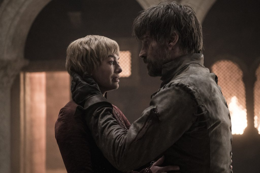 Season 8, episode 5 (debut 5/12/19): Lena Headey, Nikolaj Coster-Waldau. photo: Helen Sloan/HBO