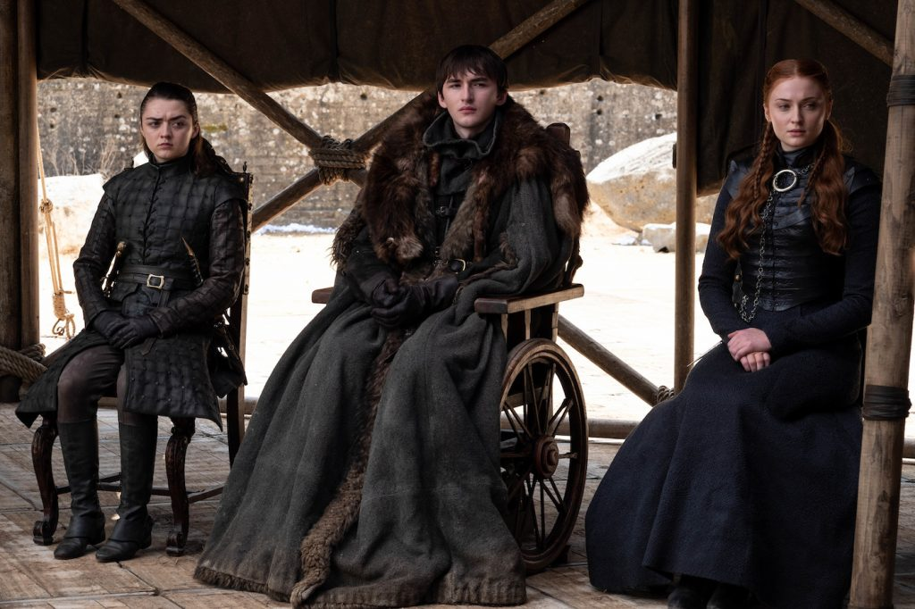 Season 8, episode 6/series finale (debut 5/19/19): Maisie Williams, Isaac Hempstead Wright, Sophie Turner. photo: Macall B. Polay/HBO.