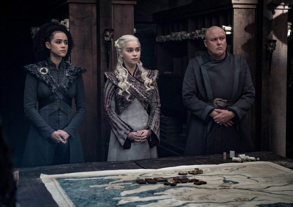 Season 8, episode 4 (debut 5/5/19): Nathalie Emmanuel, Emilia Clarke, Conleth Hill. photo: Helen Sloan/HBO