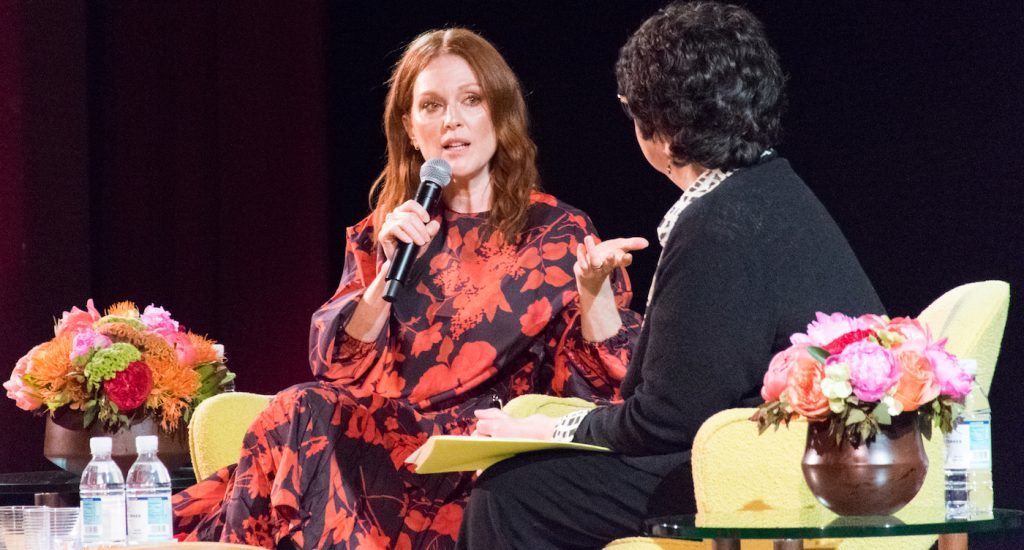 Julianne Moore Moore being interviewed by Loren King