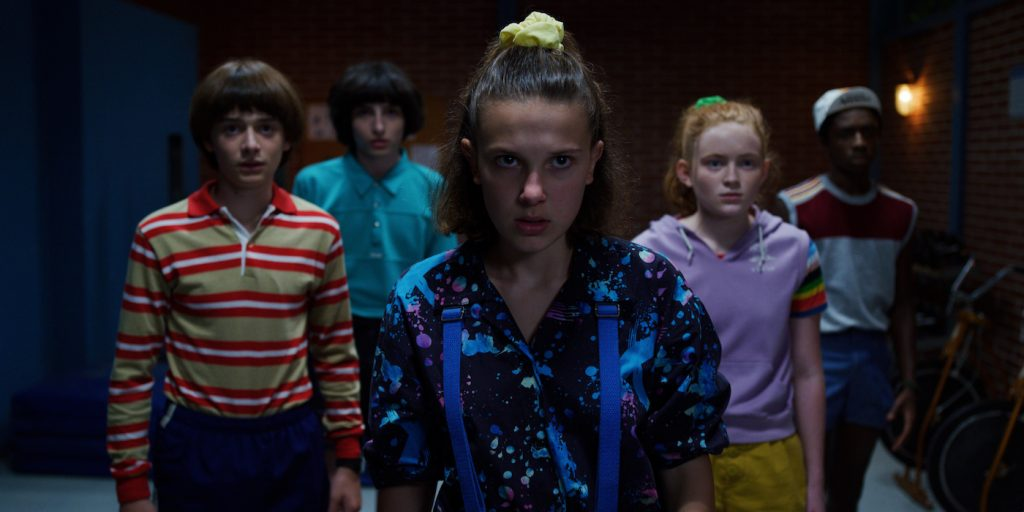 oah Schnapp, Finn Wolfhard, Millie Bobby Brown, Sadie Sink, and Caleb McLaughlin in 'Stranger Things.' Courtesy Netflix.