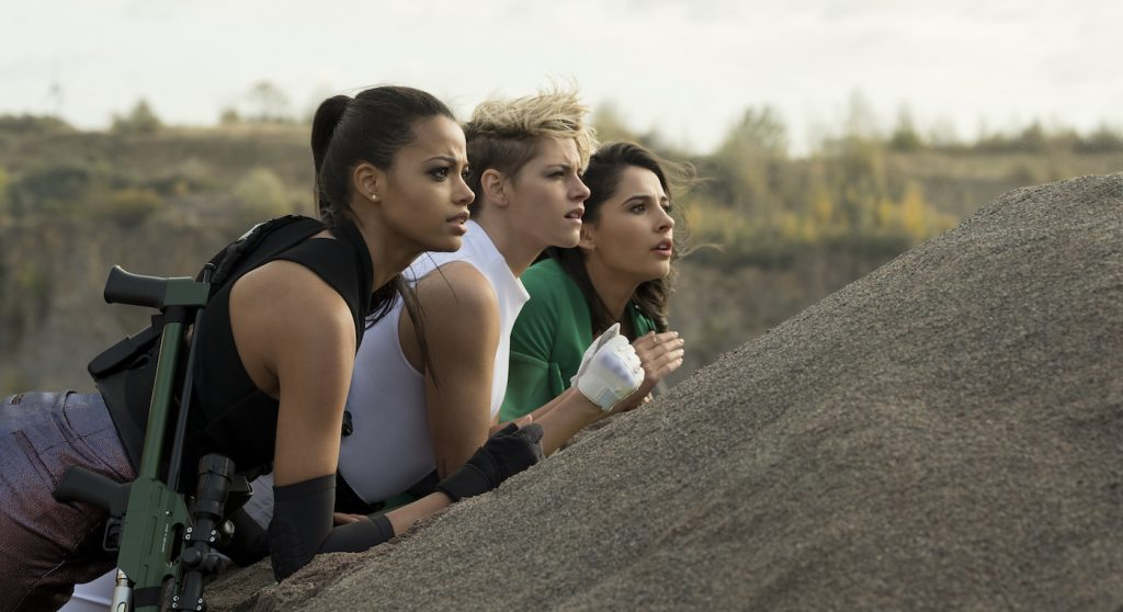 Ella Balinska, Kristen Stewart and Naomi Scott star in Charlie's Angels. Photo Credit: NADJA KLIER. Courtesy Sony Pictures
