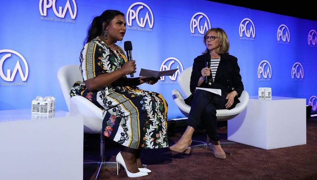 Mindy Kaling and Nancy Meyers speak at the Produced By Conference at Warner Bros. Studios on Saturday, June 8, 2019, in Burbank, California. (Photo by Mark Von Holden/Invision for Producers Guild of America /AP Images)