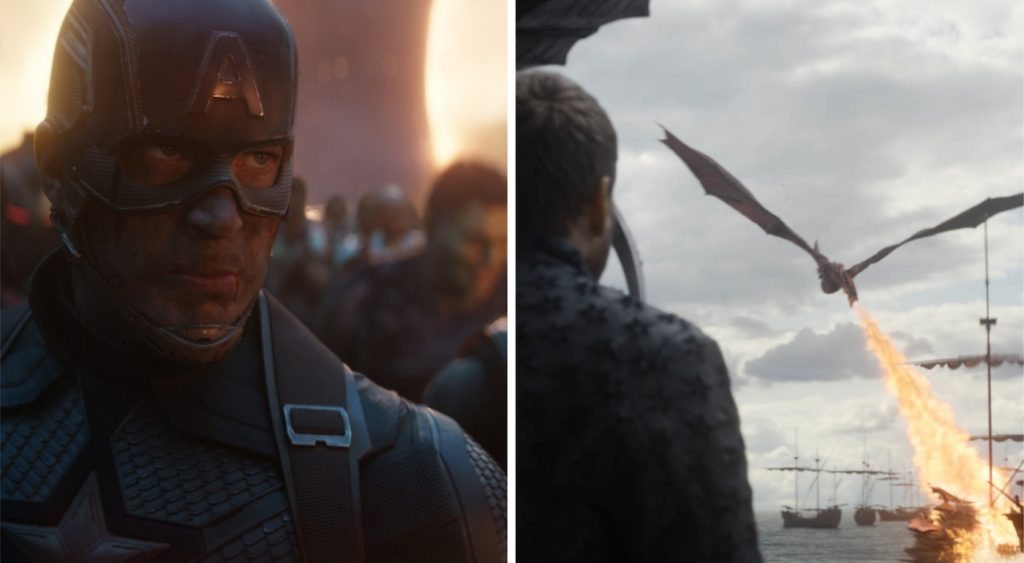L-r: Chris Evans is Captain America in 'Avengers: Endgame.' Courtesy Walt Disney Studios. A shot from episode 5 in season 8 of 'Game of Thrones.' Courtesy  HBO