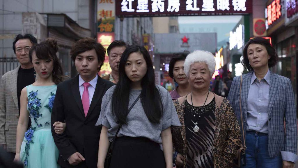 Awkwafina, Tzi Ma, Diana Lin, Lu Hong, Jiang Yongbo, Chan Han, Aoi Mizuhara, Li Xiang Photo by Nick West Courtesy of A24