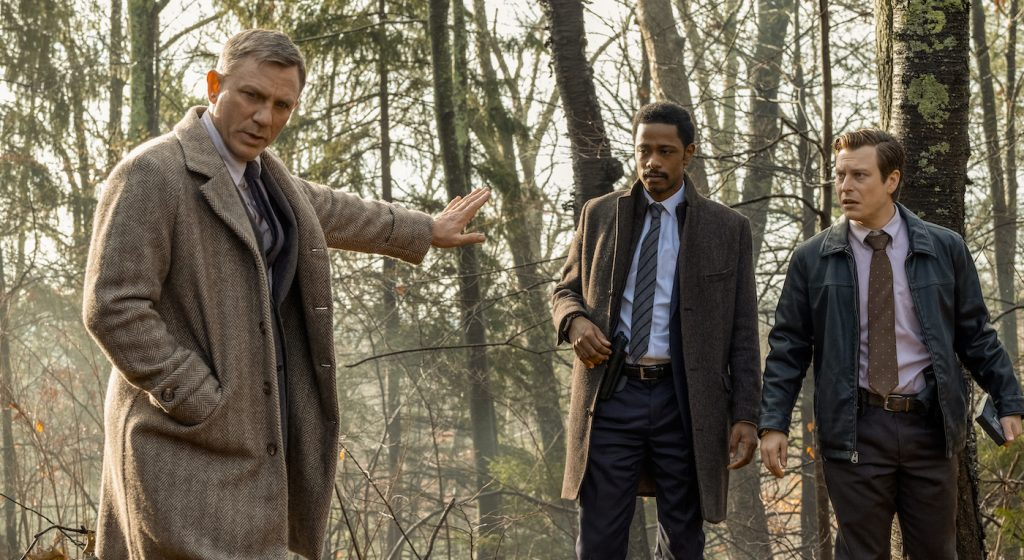 Benoit Blanc (Daniel Craig), Lt. Elliot (Lakeith Stanfield), Trooper Wagner (Noah Segan) in 'Knives Out.' Photo credit: Claire Folger/Lionsgate