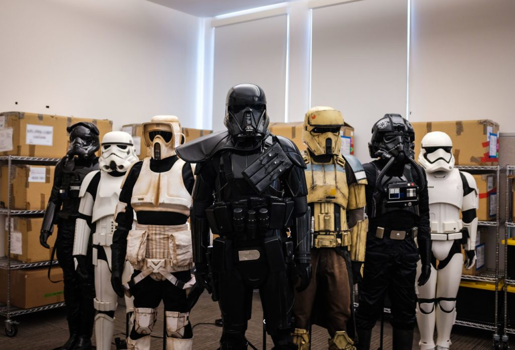 Stormtrooper armor from across the saga, ready to deploy from Lucasfilm headquarters in San Francisco.