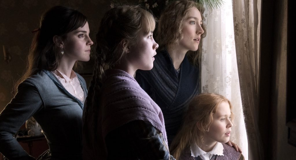 Emma Watson, Saoirse Ronan, Eliza Scanlen and Florence Pugh in Columbia Pictures' LITTLE WOMEN. Photo credit: Wilson Webb; © 2019 CTMG, Inc. All Rights Reserved. Courtesy Sony Pictures.