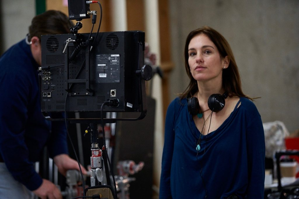 Amy Jo Johnson on the set of 'Tammy's Always Dying.'