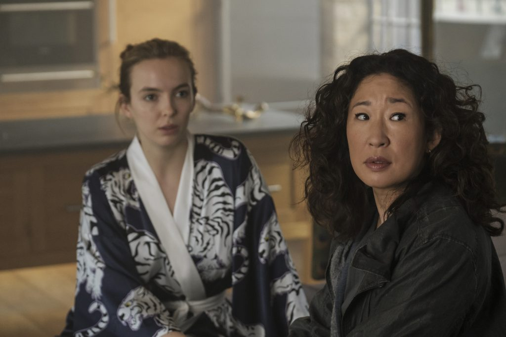Sandra Oh as Eve Polastri, Jodie Comer as Villanelle - Killing Eve _ Season 2, Episode 7 - Photo Credit: Nick Wall/BBCAmerica