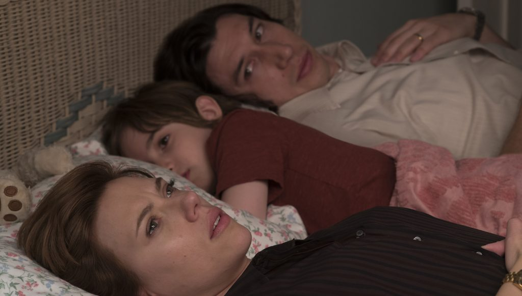Scarlett Johansson, Azhy Robertson, and Adam Driver in 'Marriage Story.' Courtesy Netflix.