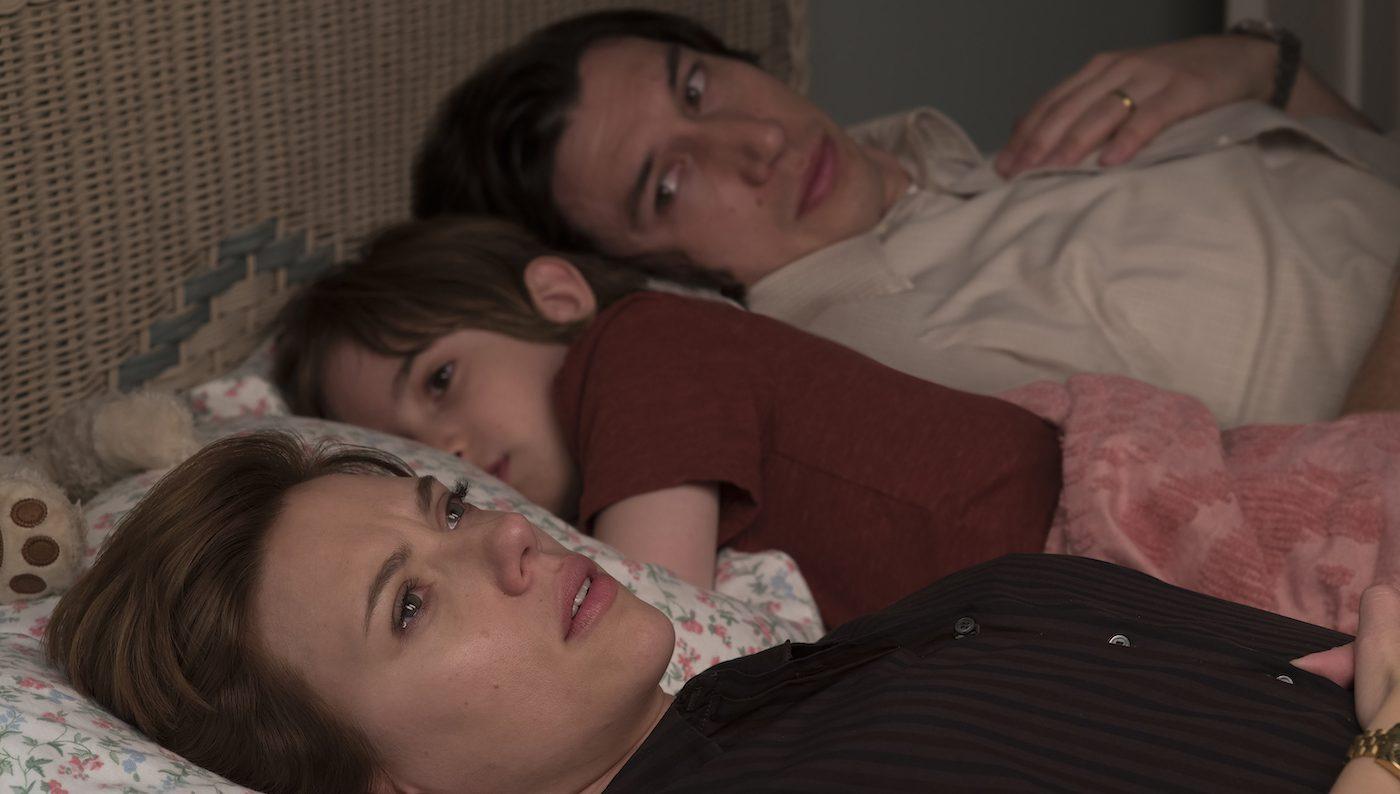 Scarlett Johansson, Azhy Robertson, and Adam Driver in 'Marriage Story.' Courtesy Netflix.