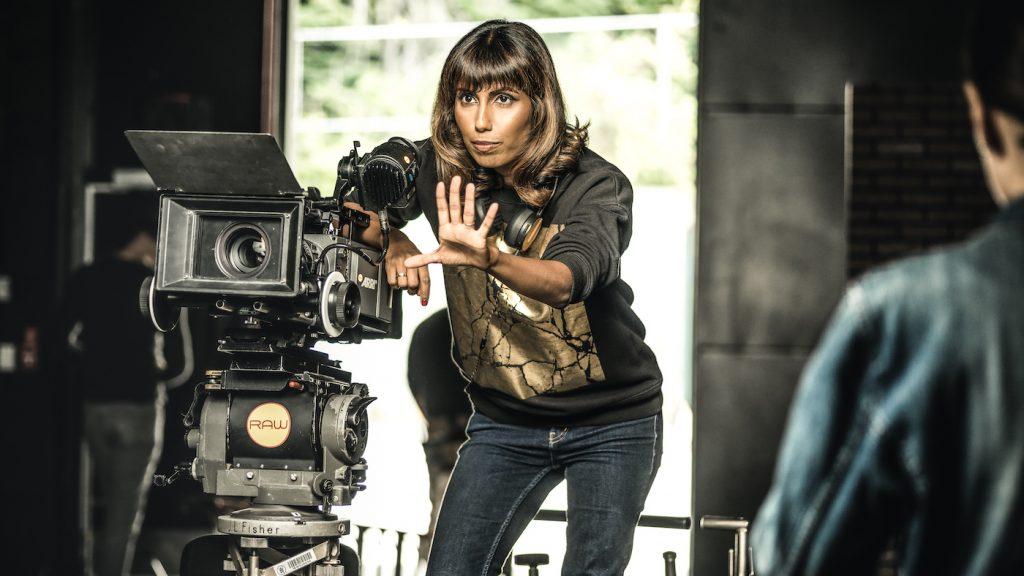 Nisha on the set of Hallmark's Chronicle Mysteries. Photo Credit: Farah Nosh.